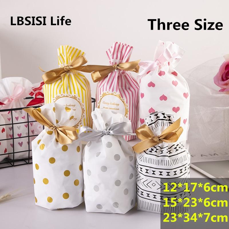 Bolsa de plástico con cordón LBSISI Life 50 Uds. Para galletas, dulces, bolsas para regalo de boda y fiesta de cumpleaños