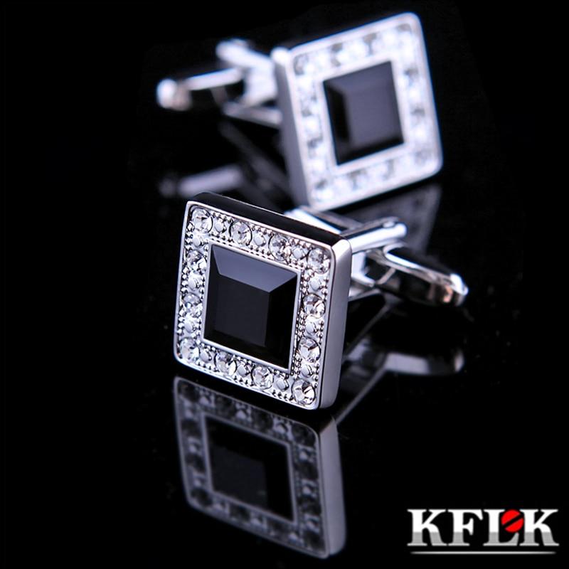 KFLK Jewelry fashion shirt cufflinks for mens Brand cuff buttons Black Crystal cuff links High Quality abotoaduras guests