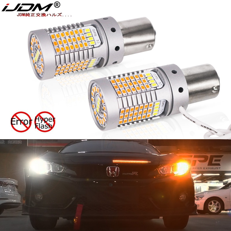 IJDM нет Hyper Flash 21 Вт BAU15S LED Canbus BA15S 1156 LED Switchback белые/Янтарные светодиодные лампы для дневных ходовых/сигнальных огней