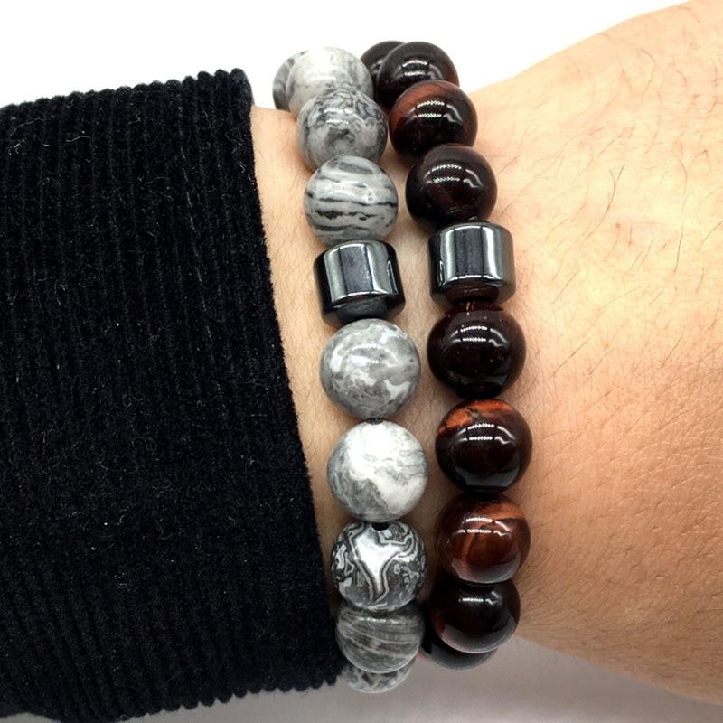 De la pulsera de los hombres 2018 nueva moda con piedra encanto pulsera hombres clásico cuentas pulsera de la joyería de los hombres regalos