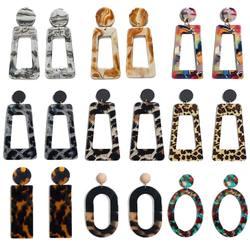Flatfoosie acrílico grande brincos longos para mulher trapézio retângulo acetato tortoiseshell brinco 2020 jóias coloridas