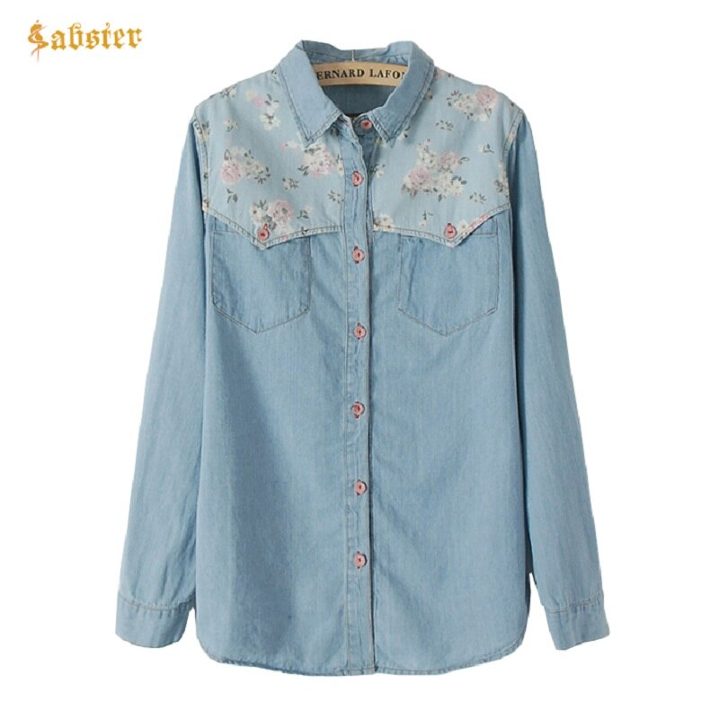 2018 nova camisa de manga longa feminina denim chemise jean femme floral jeans blusa plus size blusa casual topos...