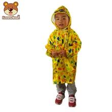 2018 Fashion Yellow Queen Graffiti Baby Raincoat Kids Boys Girls Waterproof Rainwear Cartoon Astronaut Rain Coat For Children