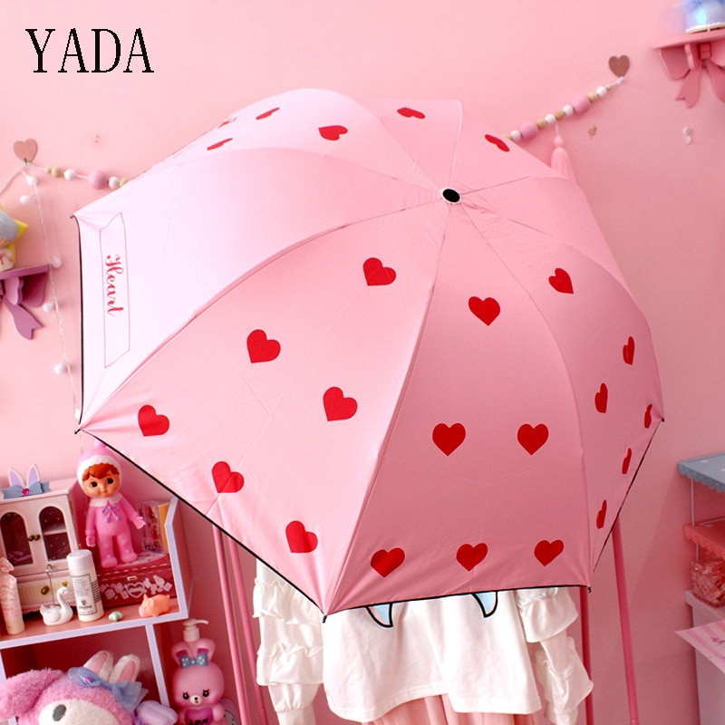 Encantos do Amor do Coração Qualidade para Mulheres Chuvas à Prova de Vento uv de Alta Yada Personalizado Folding Umbrella Chuva Mulheres Guarda-chuva Marca Ys265