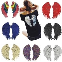 biker patches for clothing t shirt 260mm wings sequined sequins t shirt womens fashion tops shirt iron on patch flower clothes