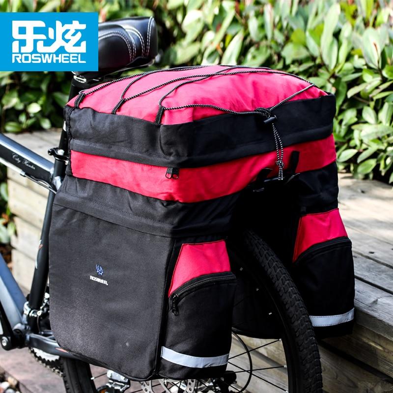 ROSWHEEL 60L Bicycle Bag Black Blue Red Double Bicycle Rear Seat Rack Trunk Bag Handbag Pannier Bike accessories