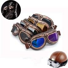 Evomosa lunettes de casque moto Vintage WWII   Steampunk, lunettes rétro classiques personnalisées, demi-casque pilote, pièce