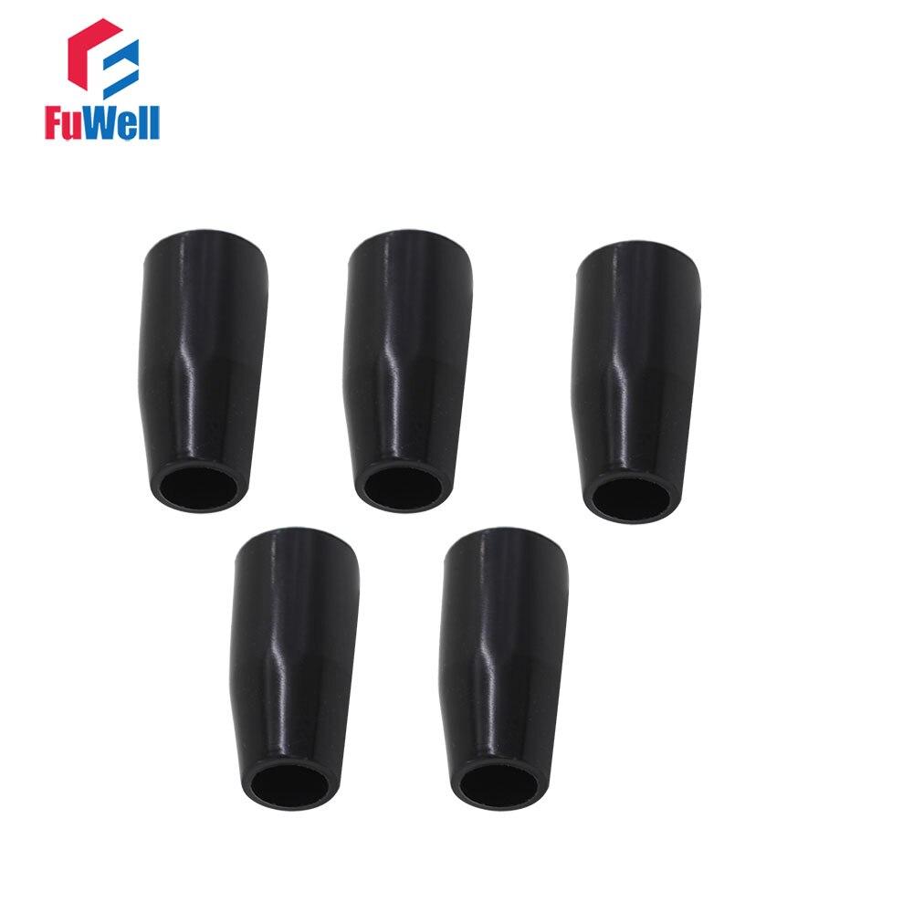 5 peças de manga longa botão m6/m8/m10/m12/m16 rosca máquina ferramenta substituição baquelite manga preta alavanca