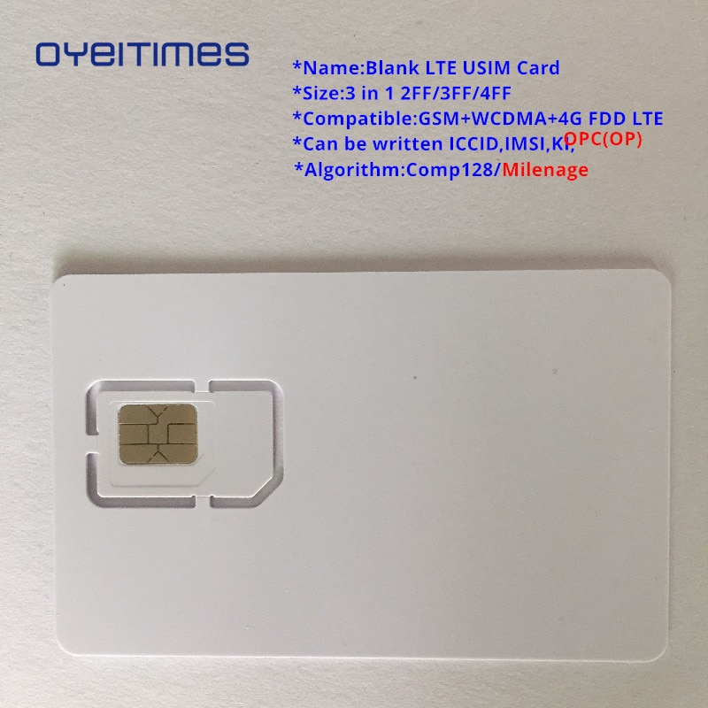 OYEITIMES en blanco tarjeta SIM 4G LTE programable tarjeta SIM tarjeta sim para teléfono móvil ICCID IMSI PIN PUK ADM KI Milenage COMP128 Algorith