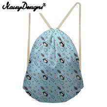 NOISYDESIGNS Cartoon Nurse Pattern printing Drawstring Backpack for girls Daypack for Kids cute shcool bags Mochila Infantil
