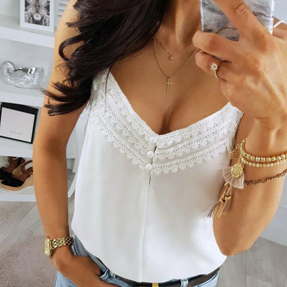 Camisola de encaje suave Top corto sin mangas damas sensual sin espalda fiesta Clubwear Casual verano camisa blanca ropa