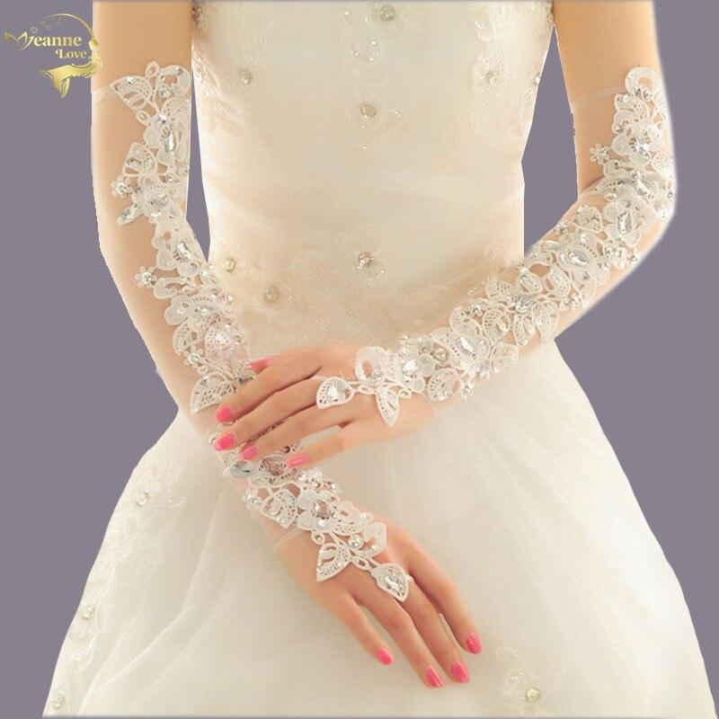 Luva De novia guantes largos De boda De longitud De ópera para novia guantes De novia sin dedos De cristal parpadeantes De encaje De novia accesorios De boda
