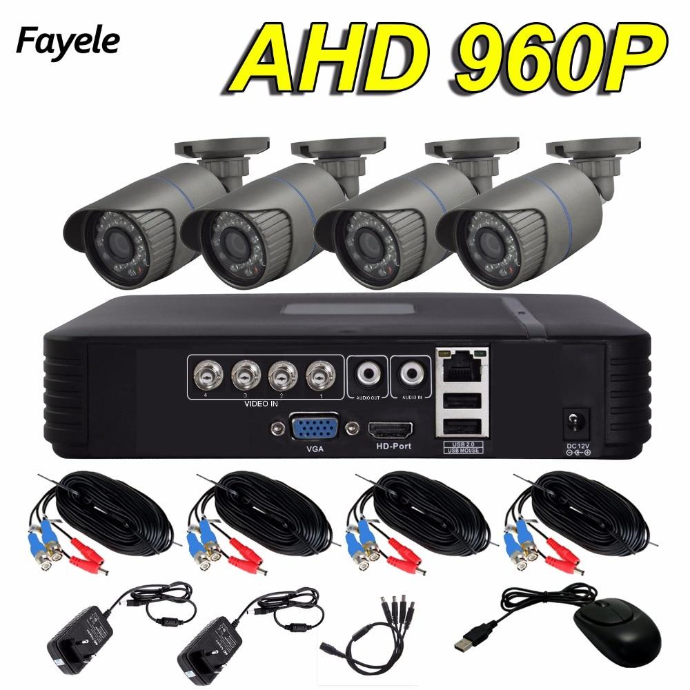 Fayele Outdoor 4CH Security Camera System 4pcs AHD 960P CCTV Bullet Camera IP66 Waterproof Day Night Surveillance DIY KIT NO HDD