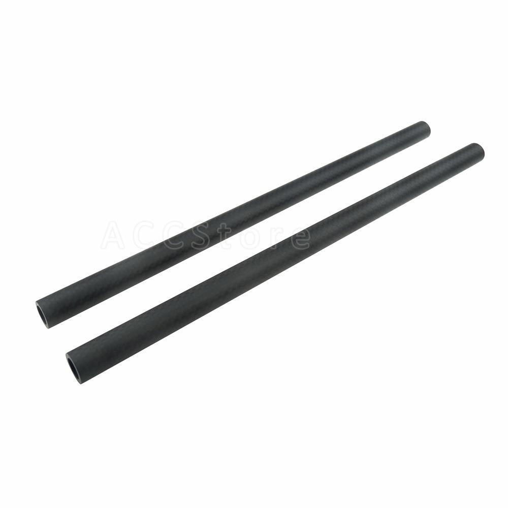 2PCS  15mm Carbon Fiber Rods 30cm / 11.8inch Long for DSLR Camera Rig 15mm Rods System Camera Rail Rods - 207
