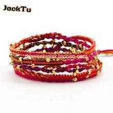 wholesale handmade gold nuggets ccotton bracelet for woman ethnic bracelet