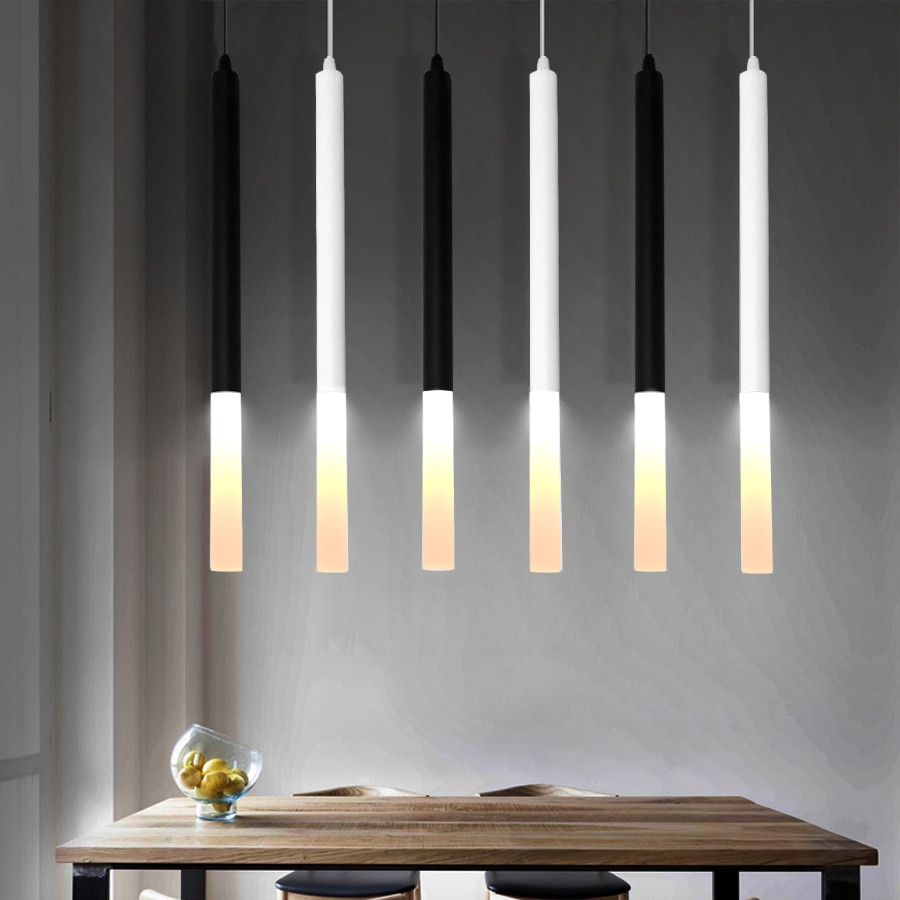 Lámpara colgante led 1 pulgadas de tubo para Isla de cocina comedor tienda Bar decoración colgante de luz lámpara de cocina