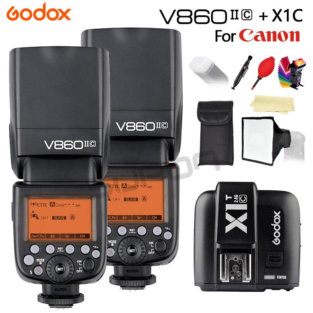 Godox flash v860ii li-bateria E-TTL hss 1/8000s bateria flash câmera speedlite v860iic + XIT-C + kit de presente para canon dslr