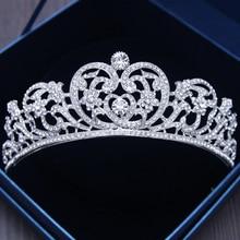 Corona barroca de Color plateado con corazón de cristal, Tiara nupcial, corona barroca con diamantes de imitación para desfile, diademas para novia, joyería para el cabello de boda