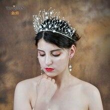 Topqueen luxo cristal claro tiara nupcial resina flor tiara casamento e coroa noiva jóias de cabelo casamento headpieces hp204