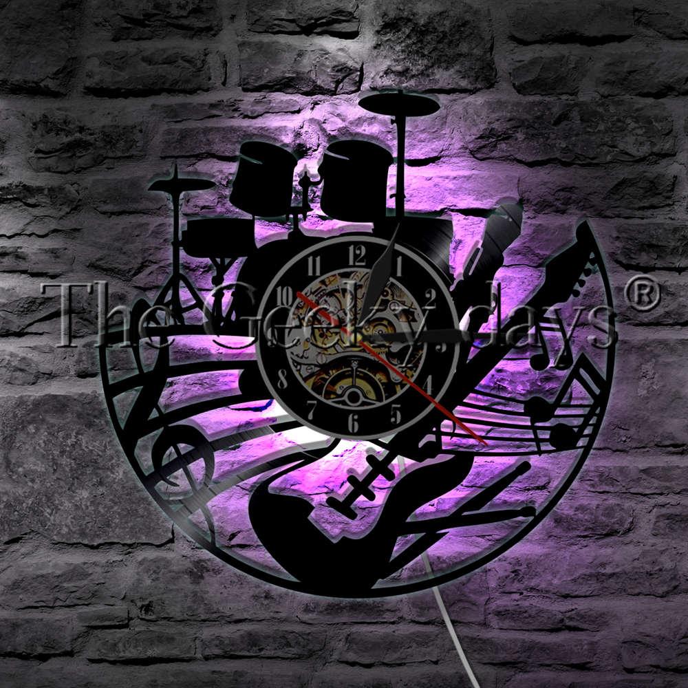 روك ميوزيك جيتار وطبول ، ساعة حائط ، ساعة حائط ، مصباح حائط ، آلة موسيقية LED ، ضوء ليلي ، هدية جيتار