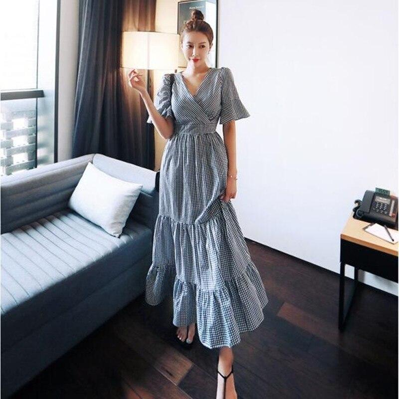 Vestido de verano para mujer, manga media con volantes, cuello en V, Corea elegante, grano de caja, Cruz a cuadros, vestidos largos grandes de péndulo