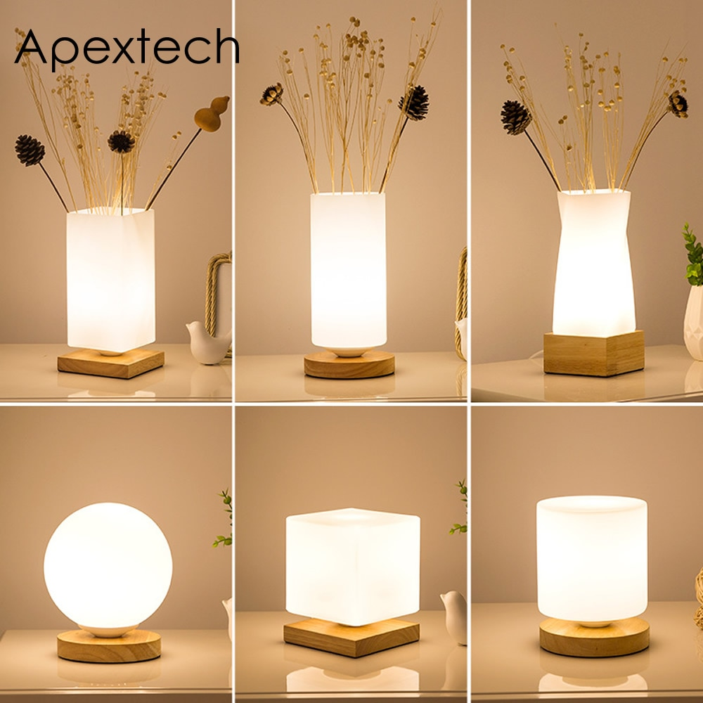 Apextech деревянный + стеклянный Настольный светильник s современный простой стиль украшение стола лампа для чтения прикроватный ночной Светил...