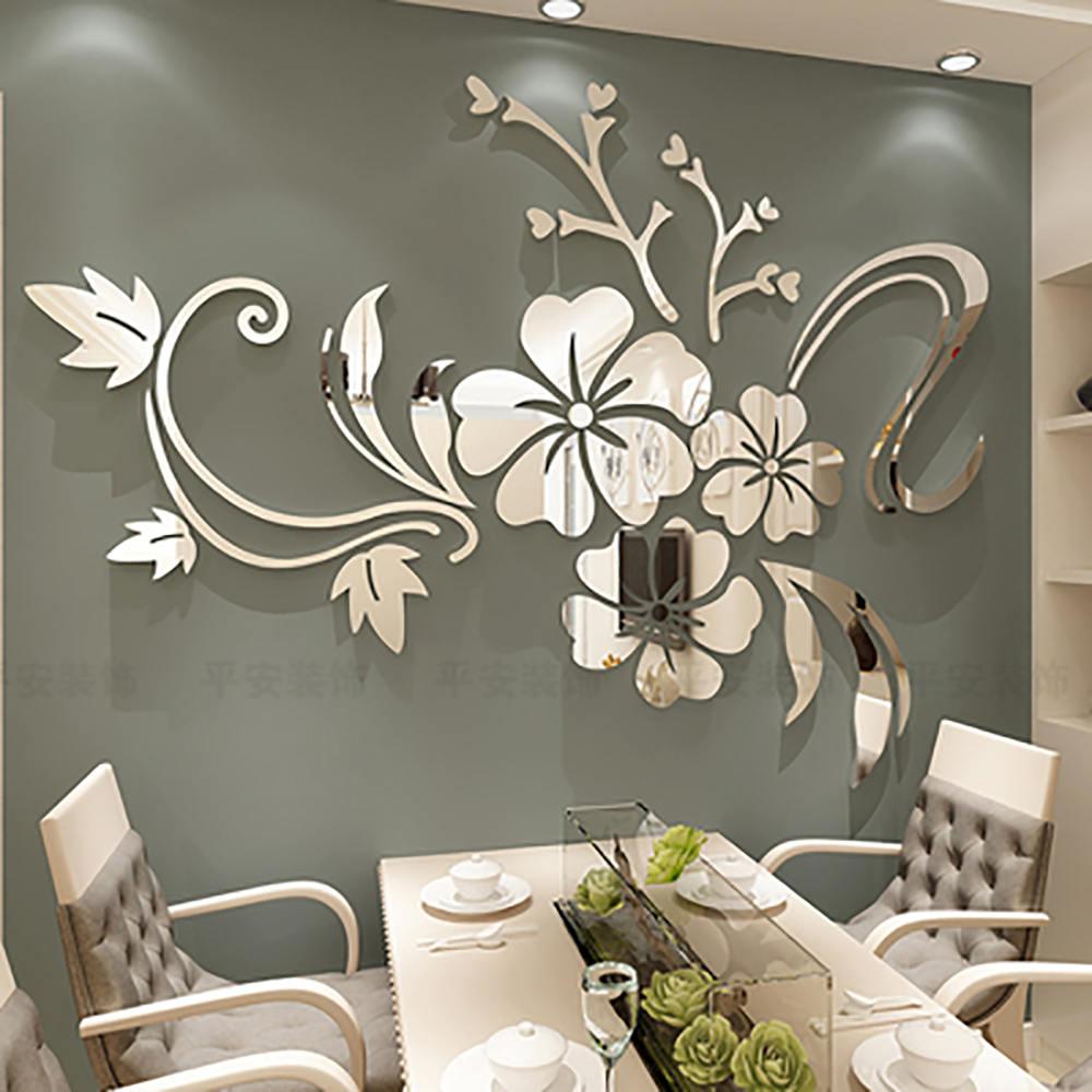 Exquisita flor 3D espejo pegatinas de pared extraíble calcomanía arte Mural hogar dormitorio TV Fondo Decoración