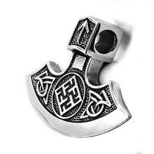 Nordique Viking hache pendentif en acier inoxydable bijoux Vintage Thor marteau celtique noeud Biker hommes pendentif en gros SWP0481A