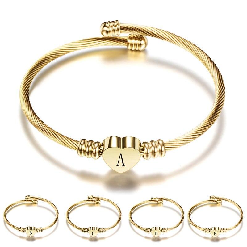 ZORCVENS Gold Farbe Edelstahl Herz Geformt A-Z Brief Armband Armreif für Frau Dropshipping