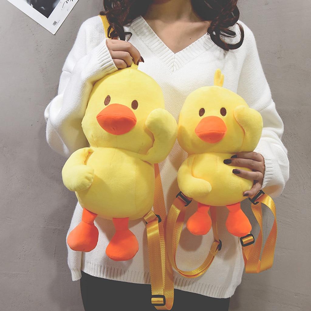 Mochila de moda para mujer, mochila de felpa Yerllow Duck para mujer, mochilas de hombro para chicas adolescentes, bolso de hombro para estudiante, mochila