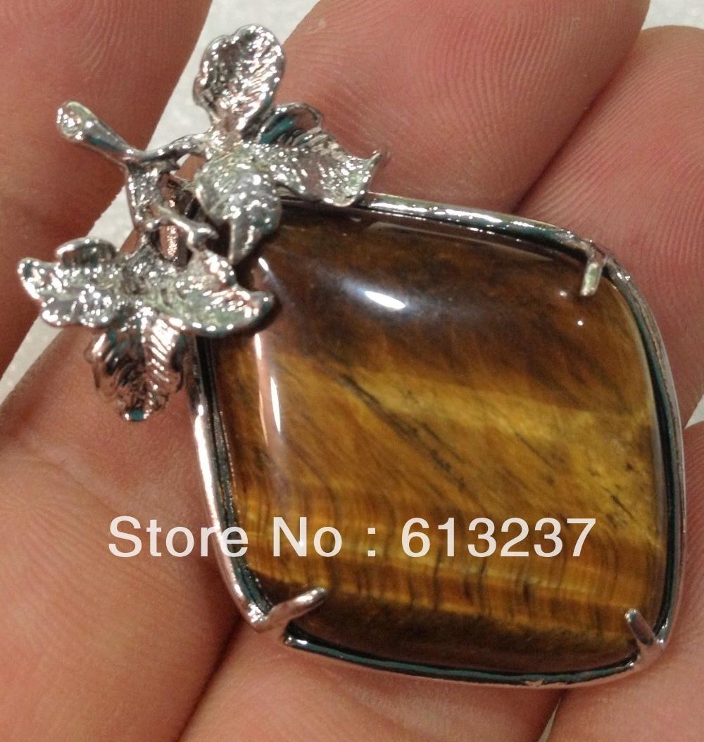 hot free Shipping new 2014 Fashion Style diy Natural  tiger eye pendants petals 18KGP MY5242