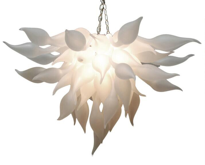 Italian White Murano Chandelier Light China Supplier Cheap Hand Blown Glass Chandelier for Art Decor LED Bulbs