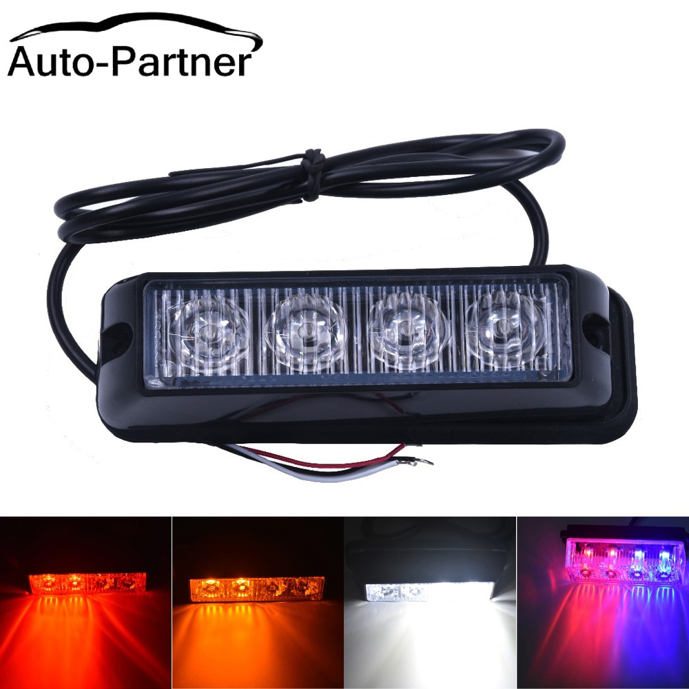 4 LED Red/Blue Car Police Flash Truck Emergency Beacon Light Bar Hazard Strobe Warning