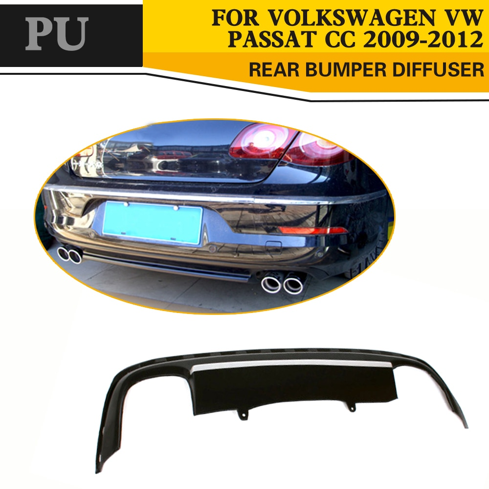 Car Styling PU Auto Rear Diffuser Lip Spoiler para VW PASSAT CC 2008-2012
