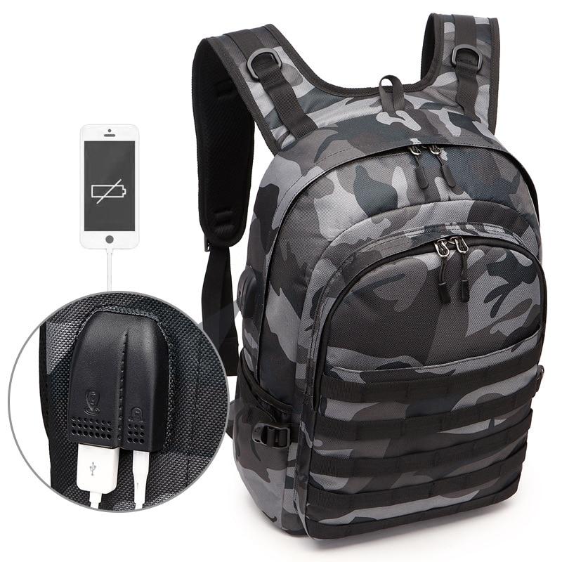 حقيبة ظهر للرجال من PUBG Mochila Pubg ، حقيبة ظهر مموهة لسماعات الرأس USB ، حقيبة ظهر بمقبس
