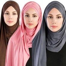 2019 Nieuwe Vrouwen Jersey Sjaal Soft Plain Katoen Instant Hijab Sjaals en Wraps foulard femme moslim Hijaabs Klaar Om Te Dragen hoofddoek