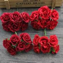 Bouquet de fleurs roses rouges artificielles 4cm   Bouquet de fleurs en soie, pour mariage, bricolage décoration pour Scrapbooking, guirlandes de fleurs faites à la main, 6 pièces