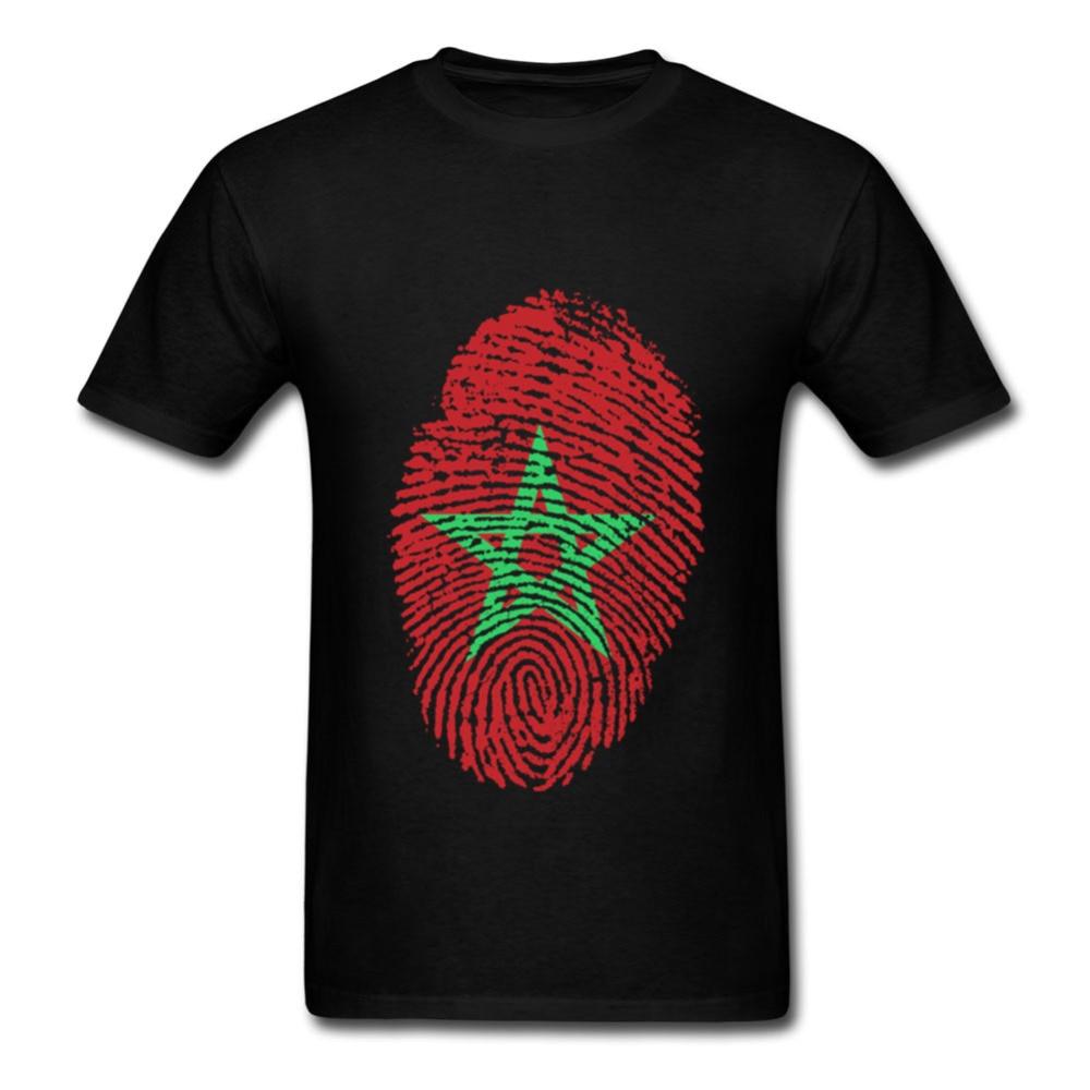 Günstige Männer t shirts Homem Marokko Flagge Fingerprint Kurzarm T-Shirt Homme Rundhals T-shirt Designs männlichen nk oxxxymiron