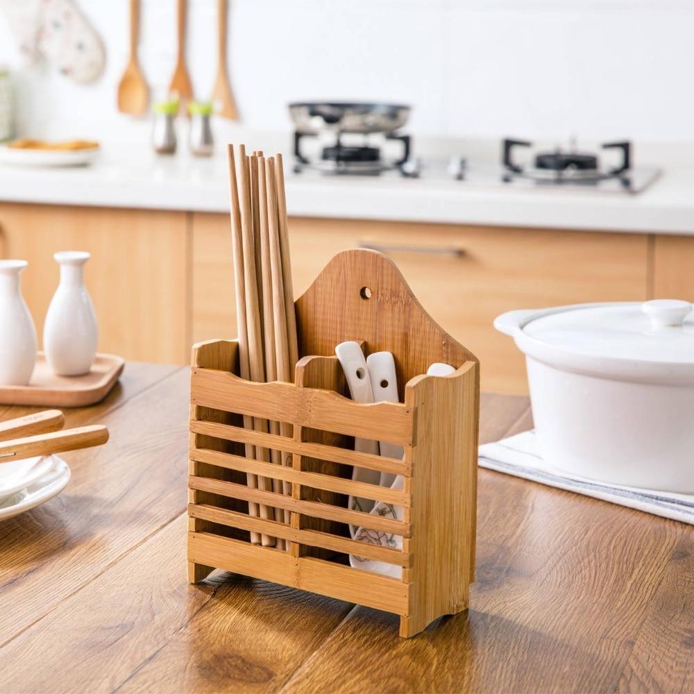 OTHERHOUSE palillos de secado de madera jaula Kinfe cuchara organizador de horquillas soporte de almacenaje con ranuras soporte de vajilla contenedor de almacenamiento escurridor