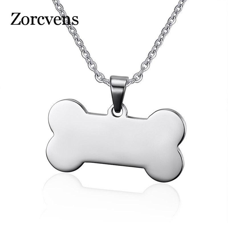 ZORCVENS, collar con colgante en forma de hueso de acero inoxidable, collar con etiqueta de perro, punteado en joyería de Amor de Mascota