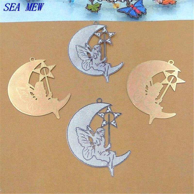 SEA MEW 24*32 مللي متر ورقة النحاس نجمة القمر تخريمية قلادة الخام النحاس الفضة اللون موصلات لصنع المجوهرات