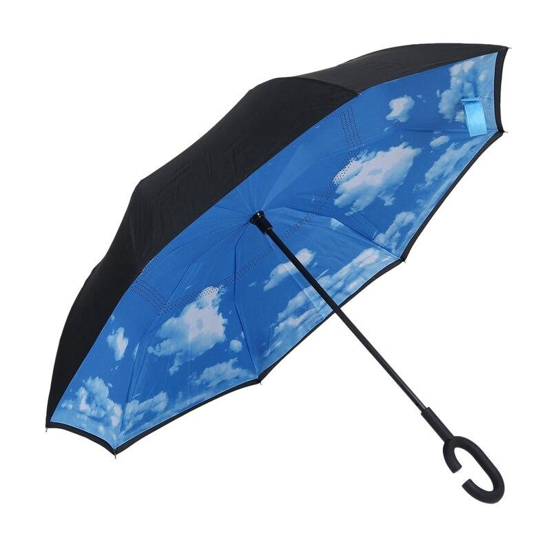 Paraguas plegable de doble capa invertida a prueba de viento y lluvia para mujer Sky Cloud