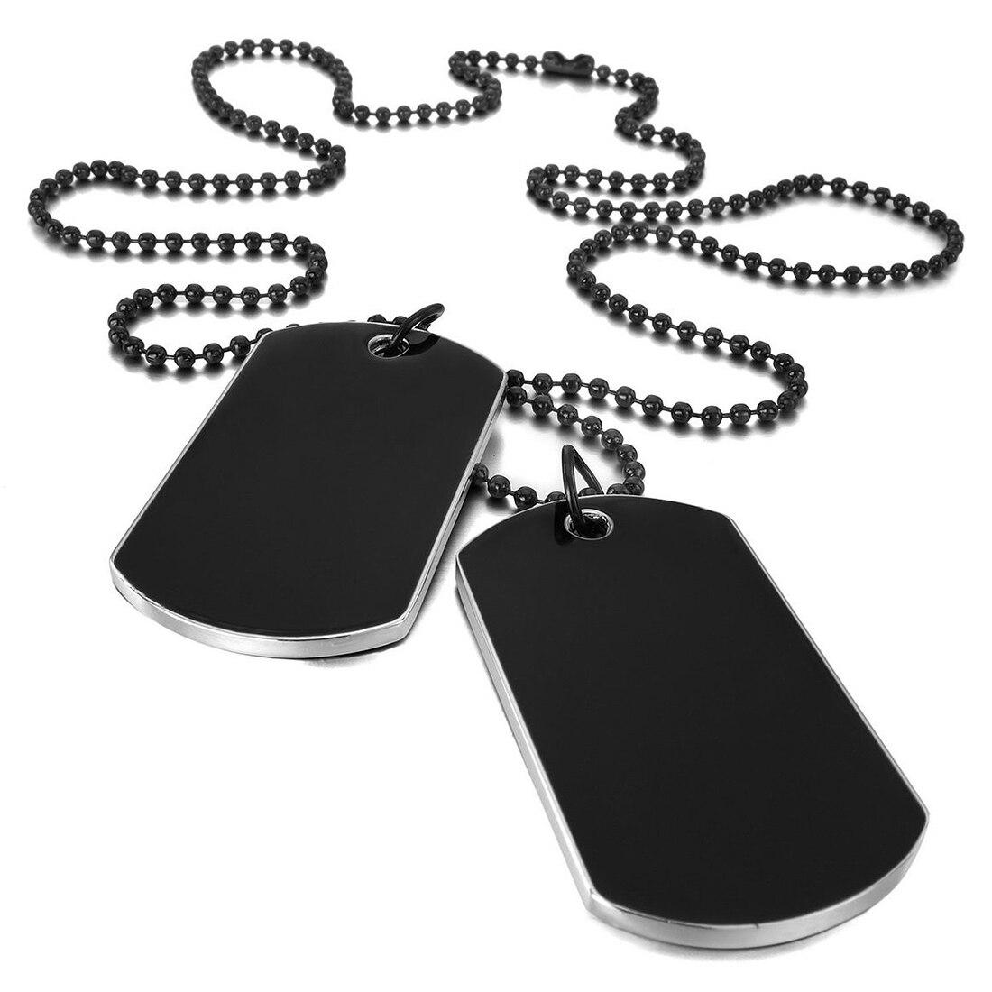 2 шт., ожерелье из сплава, подвеска, черное армейское название, двойная собачья бирка, Байкерская цепочка, ожерелье, 27 дюймов, для мужчин