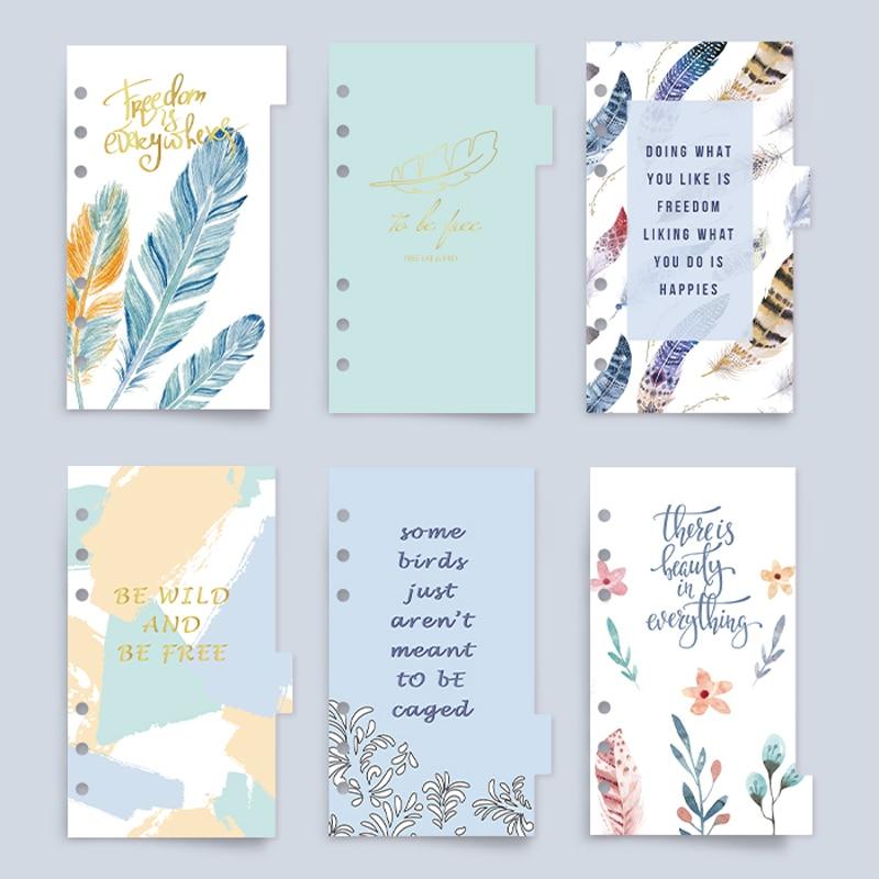 Anillas y diarios con anillas de accesorios para planificador de la serie Never Feather, divisor de páginas de índice para Filofax A6, bonito regalo, papelería escolar