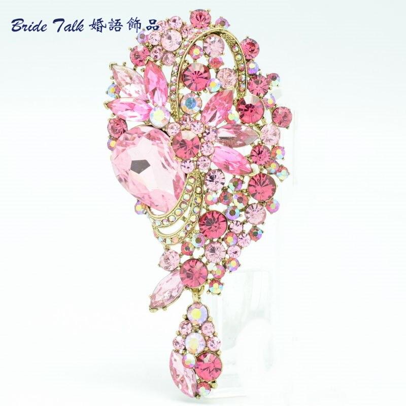Cristais de Strass Estilo Vintage Floral Broches Para As Mulheres Rosa Folha Flor Broche Espeto Pinos Acessórios de Moda Jóias 6451