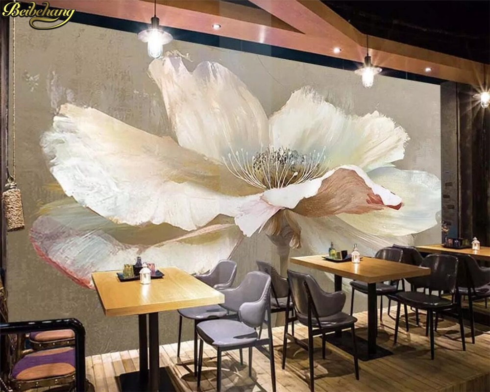 beibehang Custom Photo Wallpaper Mural Freehand Simple White Flowers Oil Painting Background Wall Painting papel de parede 3d