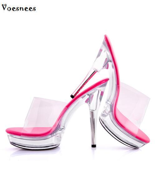 Slides Sandals Shoes Woman High heels 13-15cm Transparent crystal wedding shoes Thin Heels Platforms Slip-On Ladies Shoes