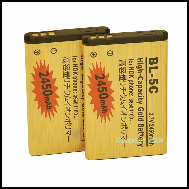 2pcs/lot Golden bateria 5C battery BL5C BL-5C Mobile phone Battery For Nokia 2610 2600 2300 6230 663