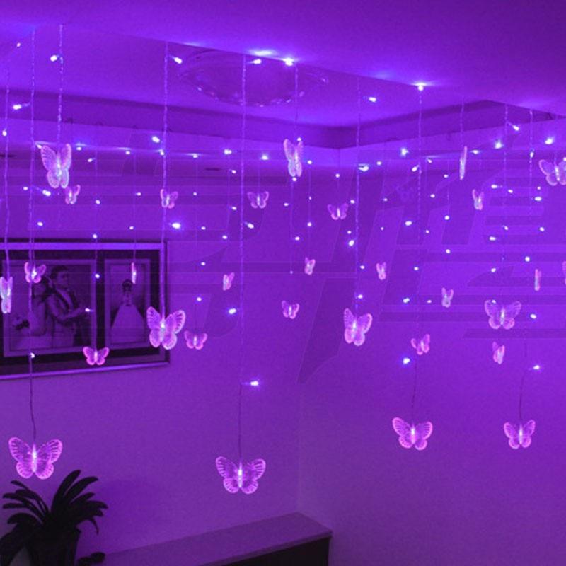 Cortina De Luces LED De mariposa iluminación navideña, guirnaldas De Luces LED,...