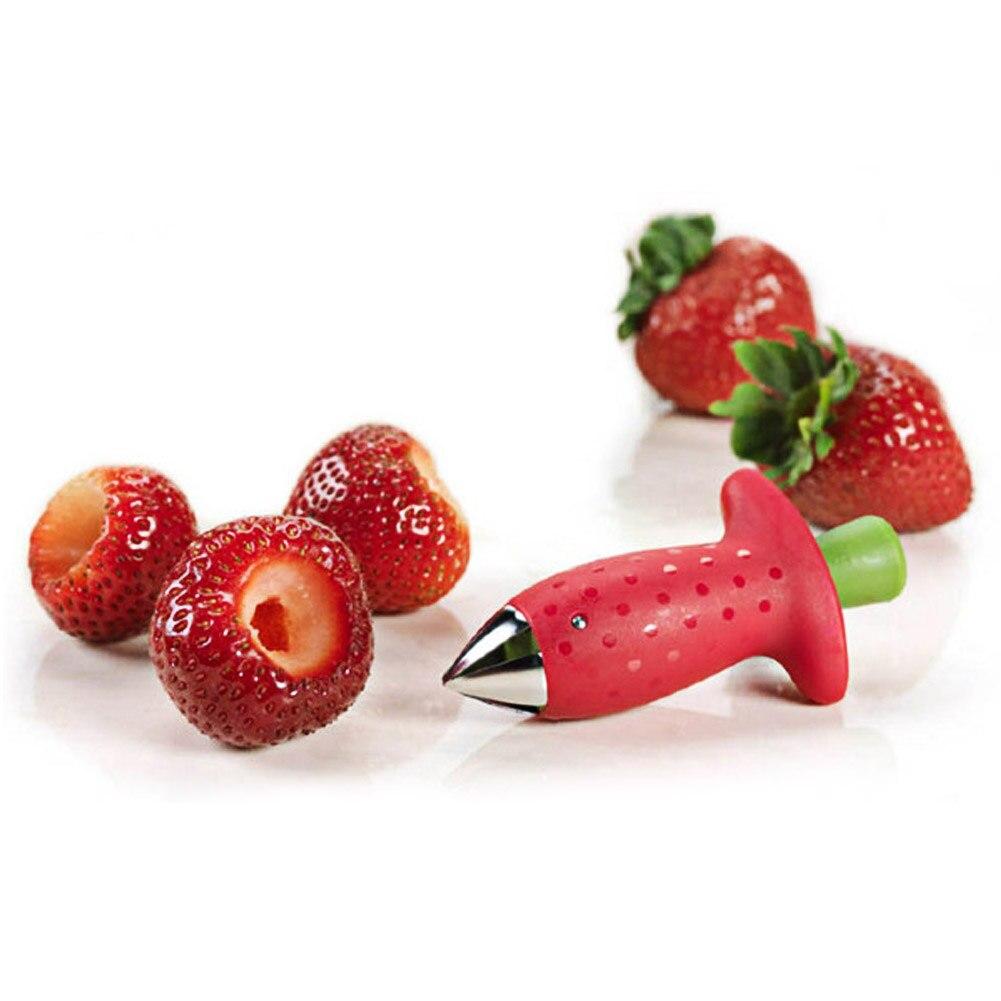 1 pieza, descascarillador de fresas, tallos de tomate de Metal, Frutas de plástico, cuchillo de hoja, removedor de tallo, Gadget, descascarillador de fresas, utensilios de cocina